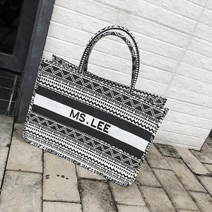 E3366 Retro black and white striped printed canvas handbags large capacity shoulder bags ethnic style wild casual bags