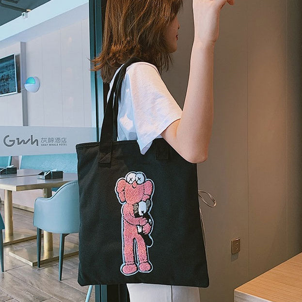 E3367 Hot sale custom print zip Inner pocket women's cotton canvas shopping bag