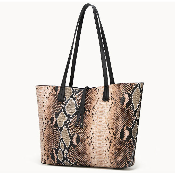E3370 Eastleather guangzhou high quality tote bag python pattern pu leather 2 in 1 handbags for women