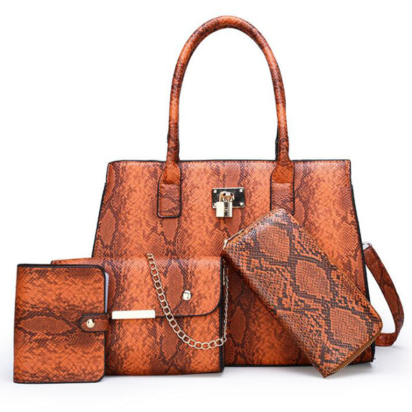E3413 New style pu leather snake print 4 in 1 women bags set purses handbags ladies