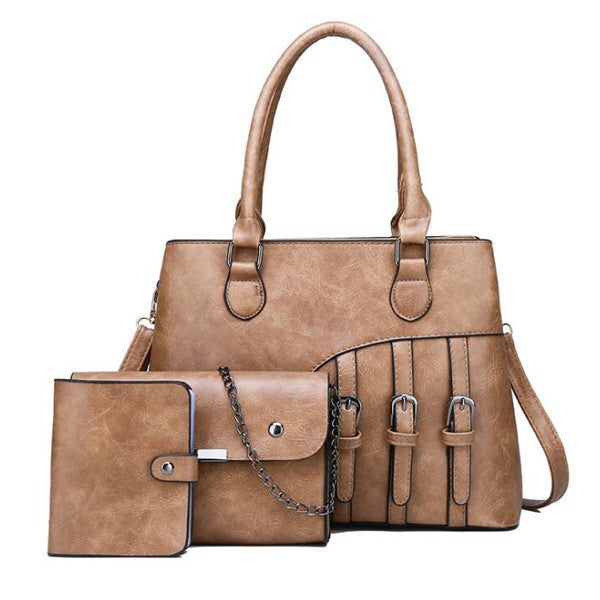 E3423 New arrival vintage style pu women handbags 3 set ladies hand bags sets