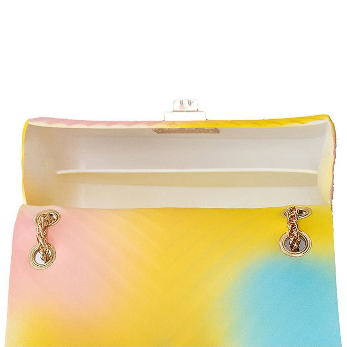 E3492 OEM fashion young women chain hand bags rainbow jelly bags handbags