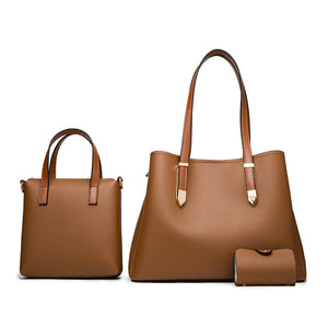 E3543 New models high quality PU leather luxury ladies bags set 3 in 1 handbags for women