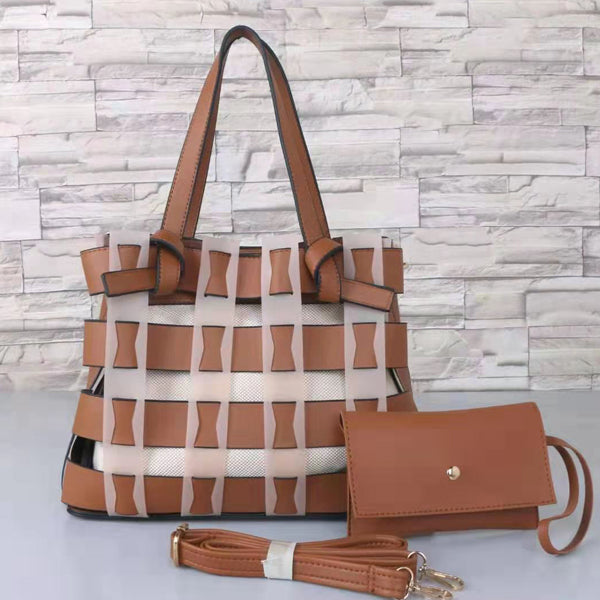 E3554 Latest 2020 design casual pu leather woven 2 in 1 womens handbags and purses