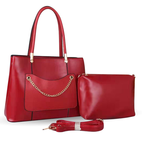 E3555 Trend classic design red pu leather 2 in 1 ladies bag purses handbags women