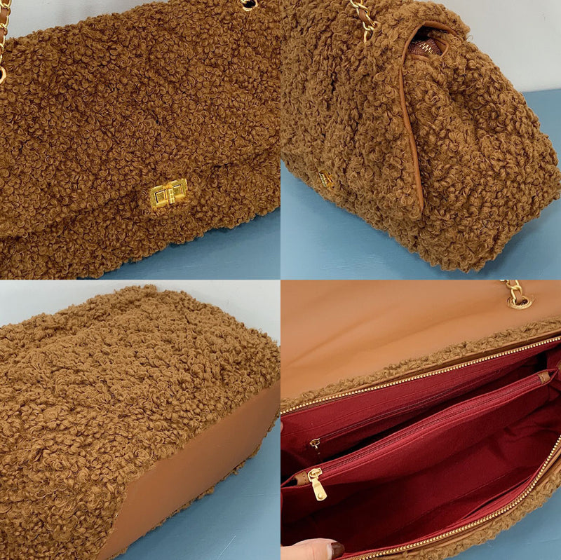 EF009 New arrival fashion high capacity ladies chain bags faux fur handbag