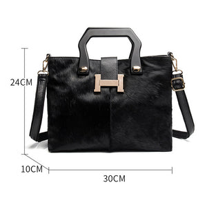 EF017 Winter series of advanced horsehair with cowhide handbag shoulder bag for ladies handbags