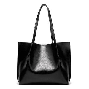 EG035 Fashion large quality women bag Oil wax pu leather ladies office handbags black