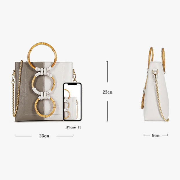 EG043 Fashion pu leather ring wooden handle casual 2020 new handbags for women