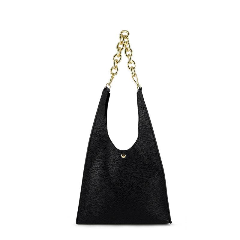 EG049 New fashion design casual pu leather women chain handbags black