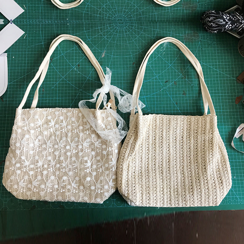 EG058 Fashion women lace beach handbag woven straw bags summer