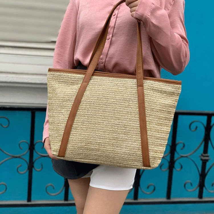 EG060 Newest summer women straw handbags large beach bag tote