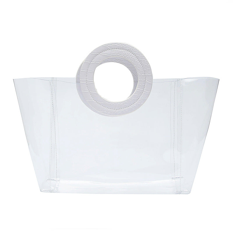 EG062 Transparent beach jelly handbag women pvc custom clear tote bag