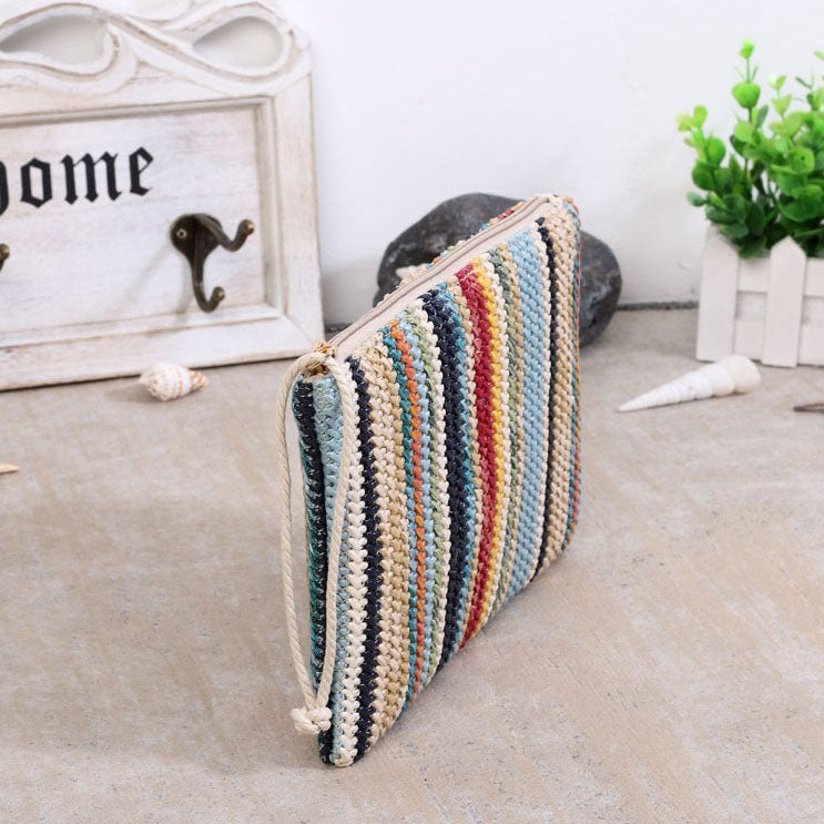 EG066 Striped women rattan coin wallet purse straw clutch bag