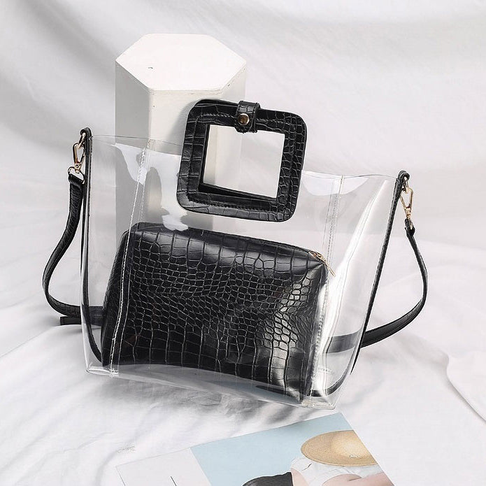 EG067 Korean fashion pvc jelly transparent bags women handbags