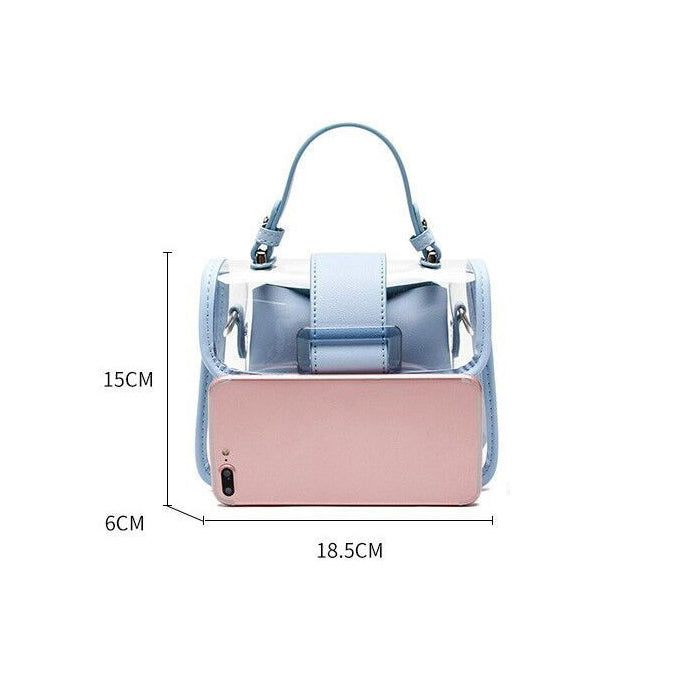 EG073 Latest trendy ladies pvc crossbody bags clear handbag chain