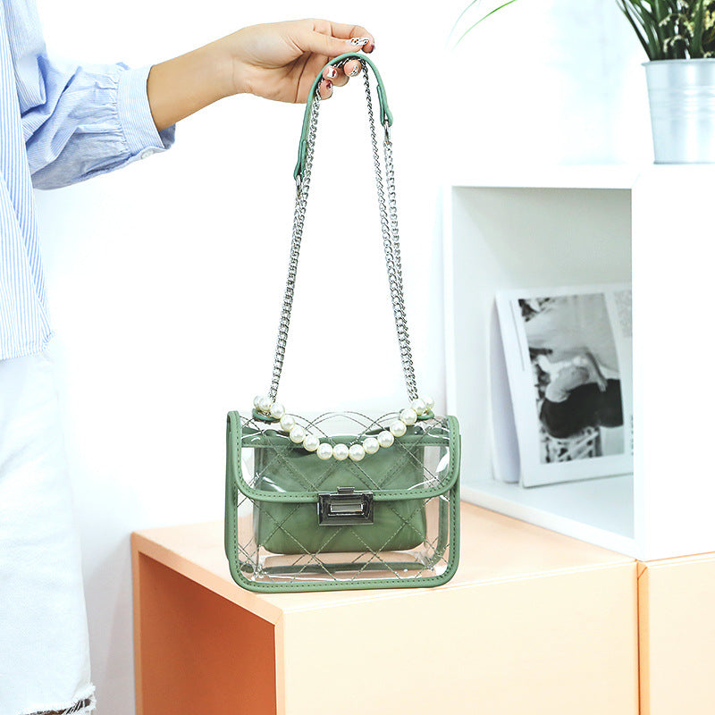 EG074 China factory wholesale women pvc clear bag green jelly handbags