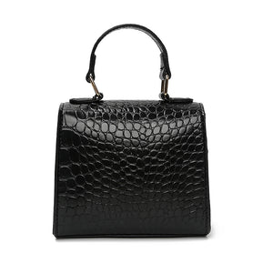 EG075 Wholesale price classical pu ladies mini crocodile handbag black