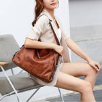 Load image into Gallery viewer, EG085 New high quality pu shoulder bag trendy ladies brown handbags for women