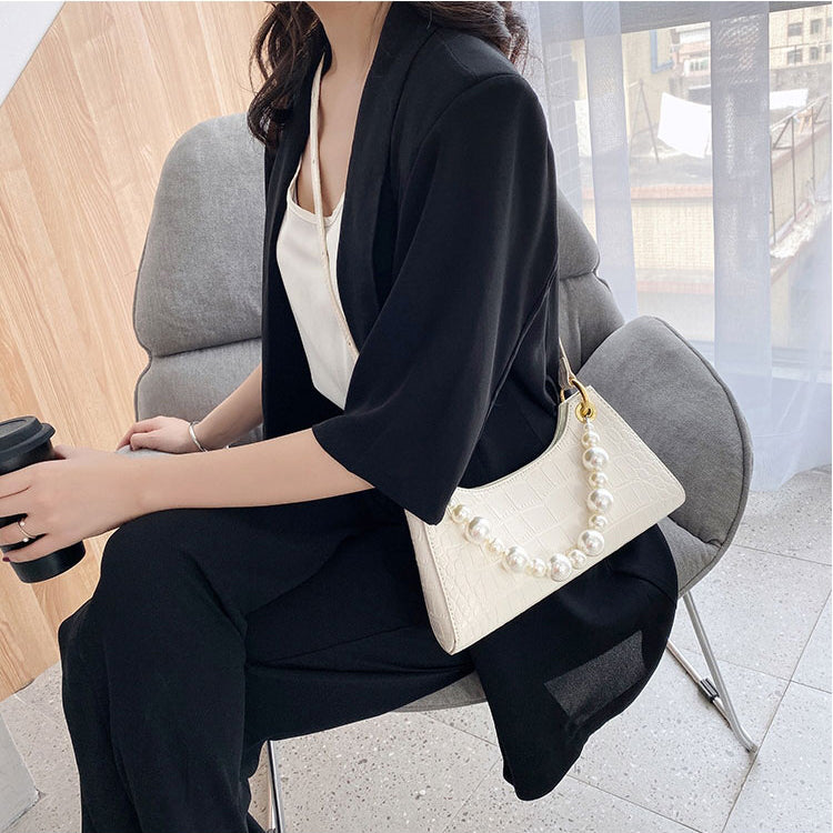EG091 New 2020 fashion crocodile design pearl handle crossbody bag purse women handbag