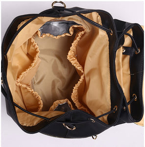 EGM007 Custom made travel pu leather baby backpack diaper bags for mother