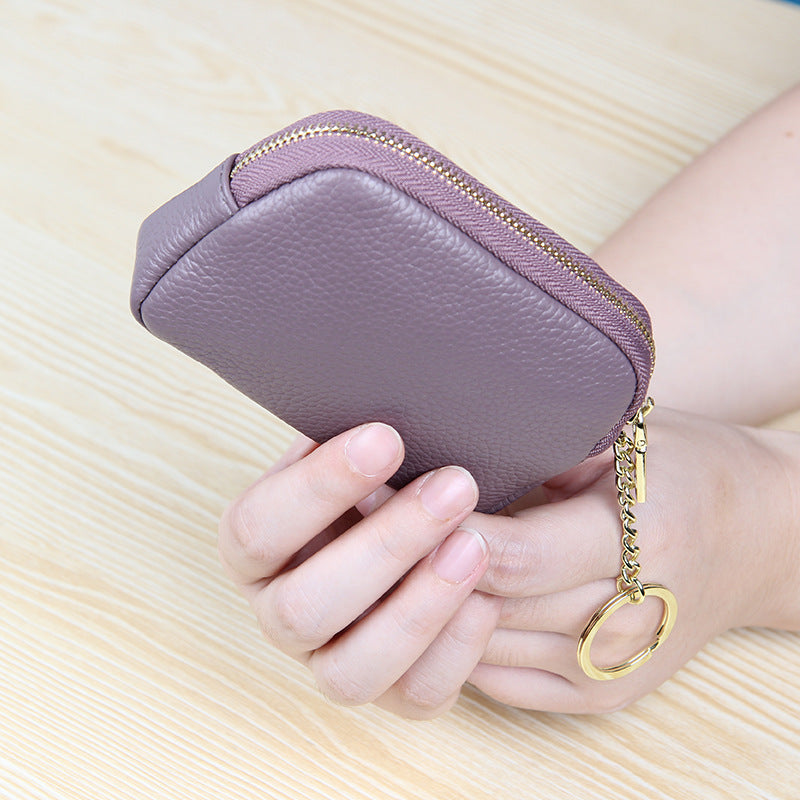 LCB012 Custom logo fashion women mini coin purse leather zipper wallet