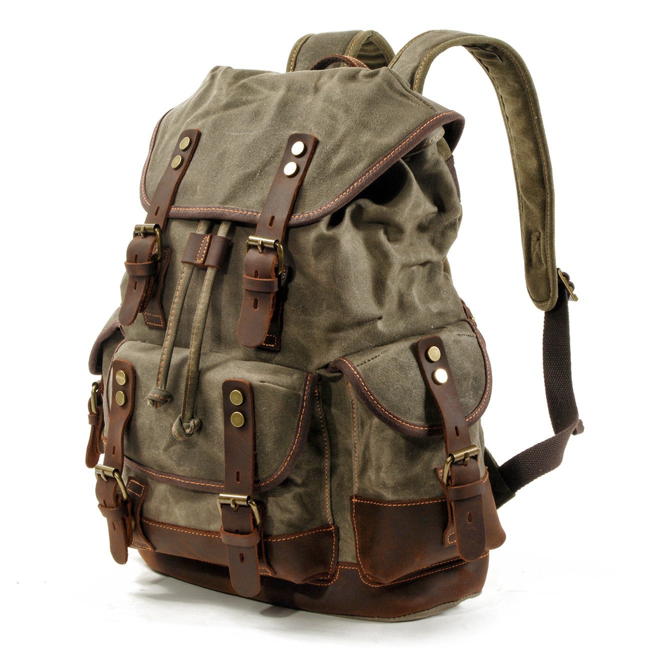 MBL033 Hot sale outdoor waterproof canvas backpacks high quality crazy horse leather backpack
