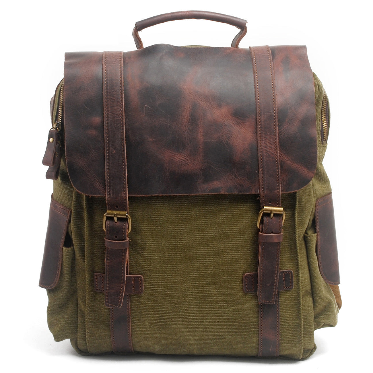 MBL038 Wholesale luxury waterproof canvas leather men bags backpack