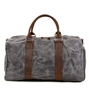 MBL042 Vintage waterproof waxed canvas travel duffle bag with shoe compartment