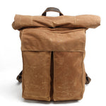 Load image into Gallery viewer, MBL044 Vintage style waterproof mens waxed canvas rolltop backpack