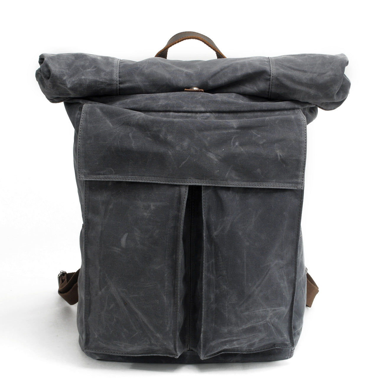 MBL044 Vintage style waterproof mens waxed canvas rolltop backpack
