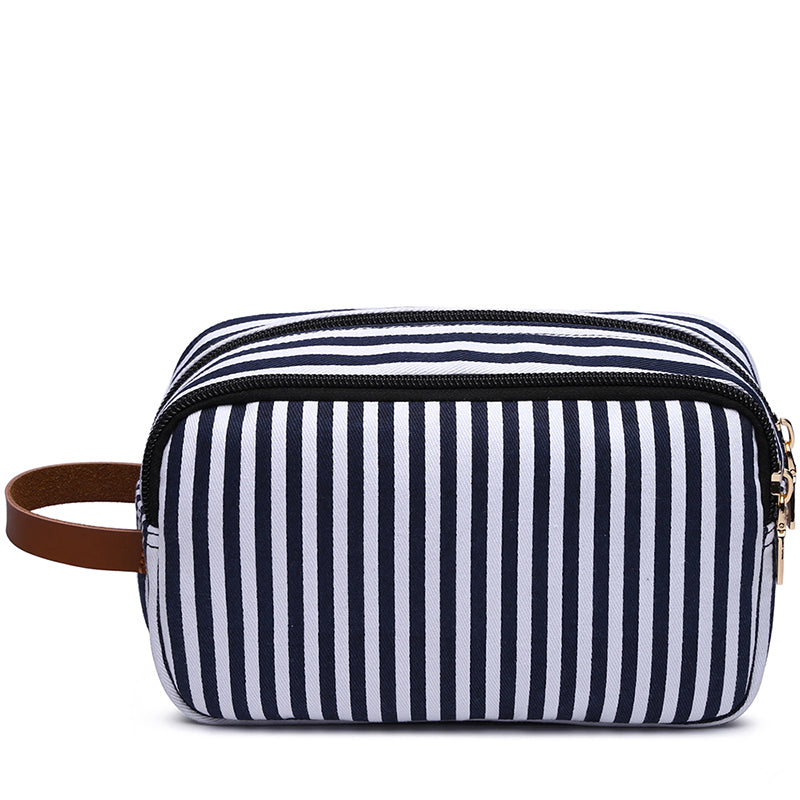 MCP043 Wholesale custom fashion canvas stripe mens wash bags storage travel makeup bag