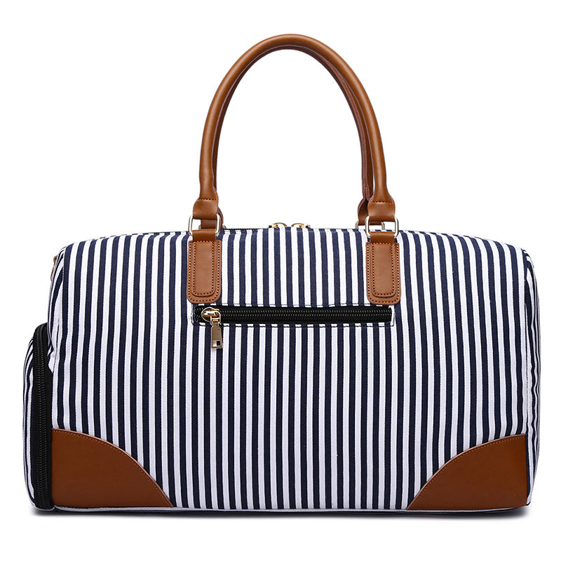 MCP044 New 2020 fashion striped weekender bag canvas travel duffle bags with shoes compartment