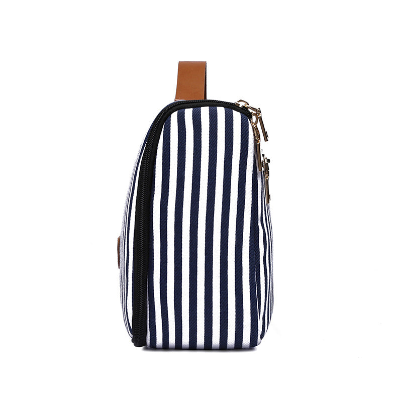 MCP045 Wholesale fashion stripe design canvas travel cosmetic bags makeup hanging toiletry bag