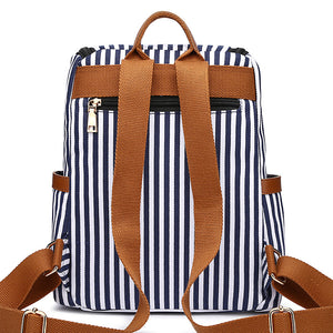 MCP046 Wholesale custom fashion stripe design canvas school bags girls small backpacks for women