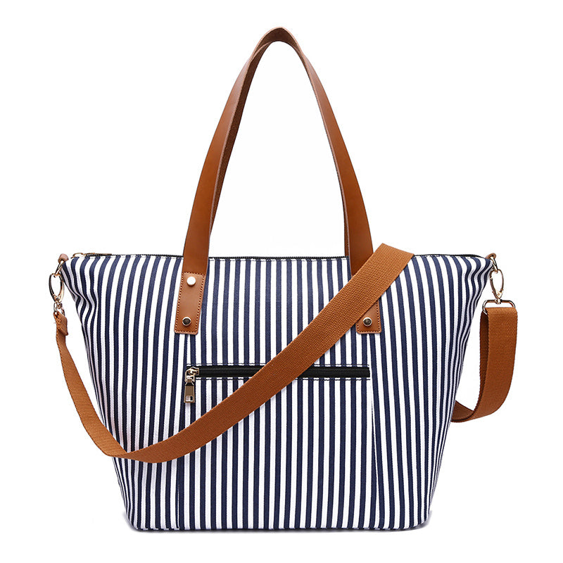 MCP047 Fashion stripe design ladies hand bags canvas handbags women