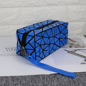 MGD003 Custom fashion geometric Rhombus holographic glow makeup bag women mini cosmetic bags cases