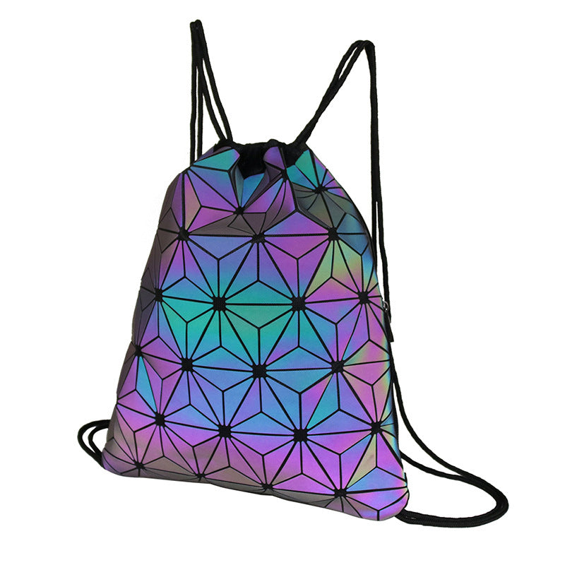 MGD006 Hot sale rhombus luminous PU leather custom waterproof drawstring backpack