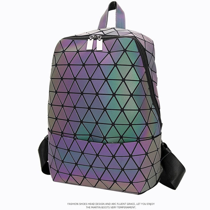 MGD009 New unique design laser geometry diamond luminous school bag leather women backpack bag