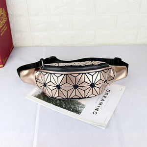 MGD013 Fashion geometric rhomboids holographic reflective luminous running belt bag leather