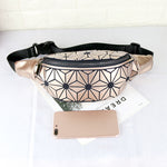 Load image into Gallery viewer, MGD013 Fashion geometric rhomboids holographic reflective luminous running belt bag leather