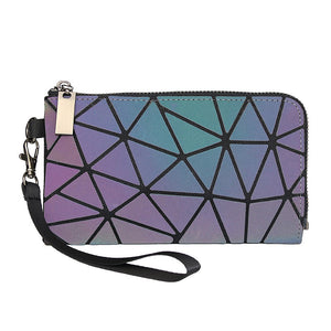 MGD018 Wholesale 3 in 1 geometric diamond holographic reflective  shoulder bag luxury purses handbags women ladies bags