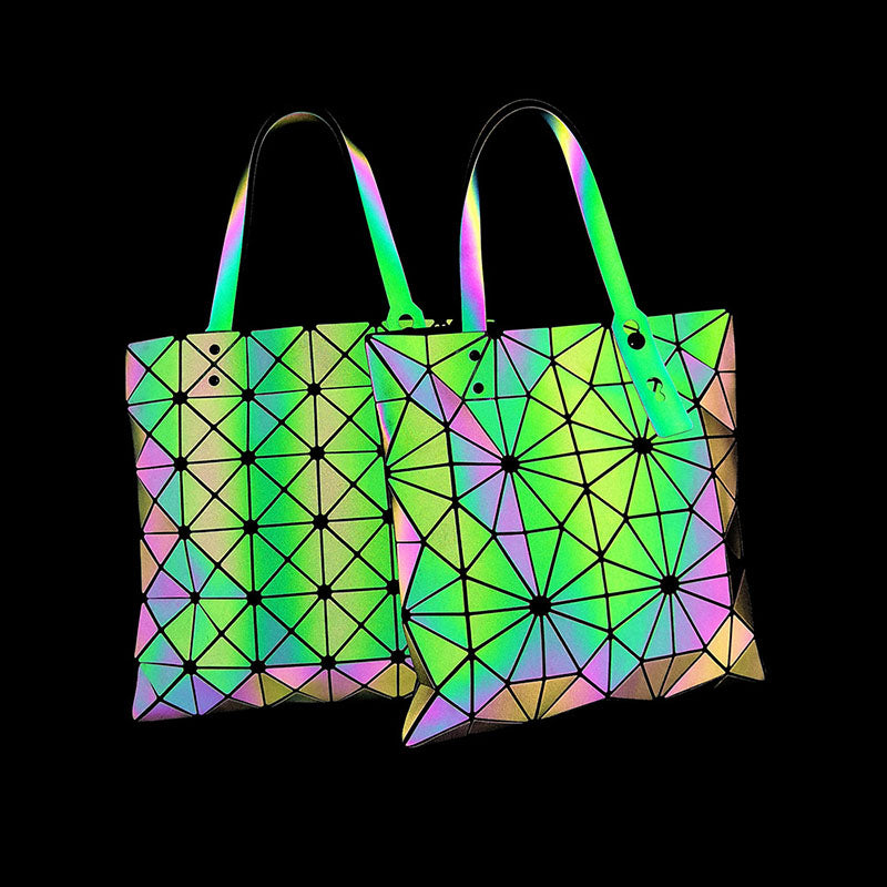 MGD020 New Arrival geometric holographic luminous folding colorful shoulder bag 2020 handbags for women luxury