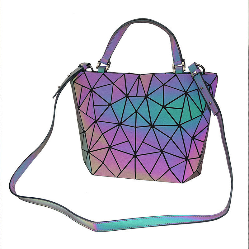 MGD024 Guangzhou wholesale new design geometric luminous reflected 3pcs pu leather purses handbags set for women