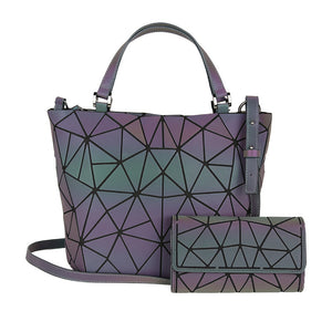 MGD025 Hot sale fashion 2pcs geometric luminous luxury bags women handbags sets