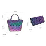 Load image into Gallery viewer, MGD027 2020 New fashion quilted laser plain folding 2 pcs hologram shoulder bags luminous geometric handbags for women