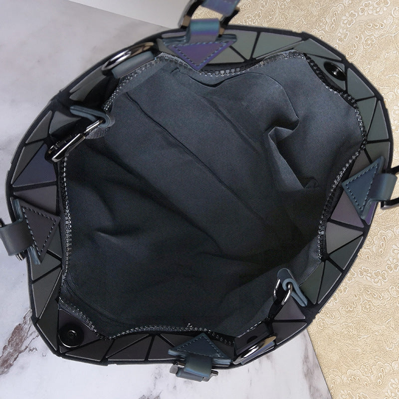MGD027 2020 New fashion quilted laser plain folding 2 pcs hologram shoulder bags luminous geometric handbags for women
