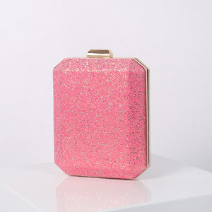 N526 Wholesale custom PVC elegant ladies pink party bridal clutch glitter evening bag