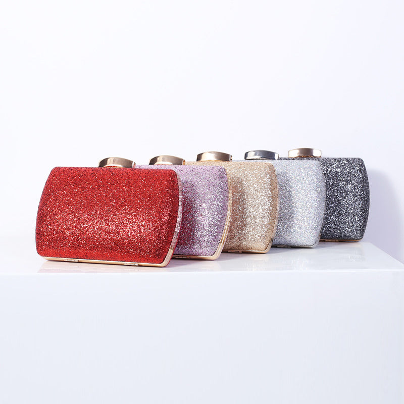 N534 Elegant glitter sequined ladies box clutch bag evening purse