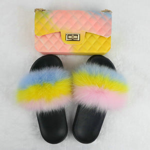 SHB300-1 New fashion brand fur slippers with purse matching shoes and handbags for women